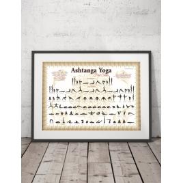 Plakat Ashtanga Yoga Biało-Złoty