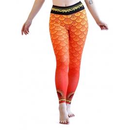 SECOND YOU leginsy Mandala pomarańczowe