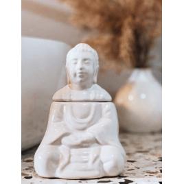 Kominek do aromaterapii - siedzący Budda (biały)
