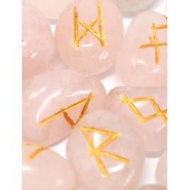 Alfabet Runiczny - runy grawerowane (różowy kwarc)