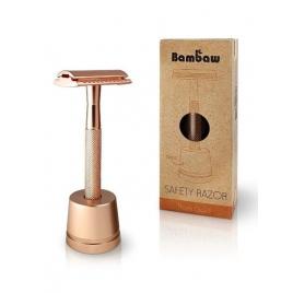Wielorazowa maszynka do golenia + żyletka i stojak (Złoty Róż)