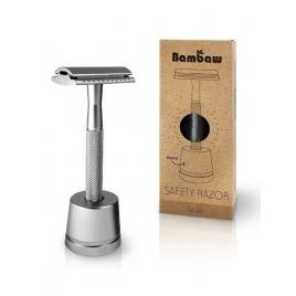 Wielorazowa maszynka do golenia + żyletka i stojak (Srebrna)